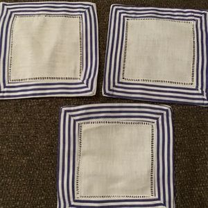 Set of 3 Blue Striped Linen Cocktail Napkins